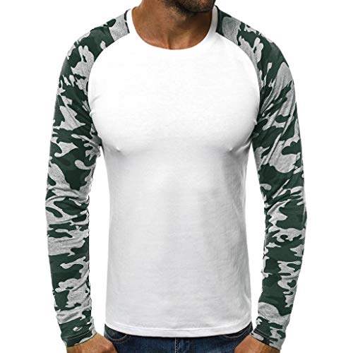 FORUU Fashion Men's T Shirts, 2026 Autumn Winter New Slim Fit Camouflage Patchwork Comfy Shirts for Men Sale Trendy Casual Slim Long Sleeve O Neck Tops for Dailywear Work Lover Gift