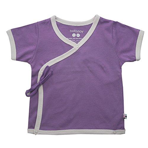 Babysoy Baby Short Sleeve Kimono Tee (6-12 Months, Wineberry)