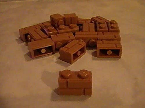 LEGO x 40 Dark Tan Brick Modified 1 x 2 with Masonry Profile NEW