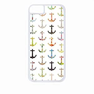 Pattern Filled Anchors Case for the Apple Iphone 5C-Hard White Plastic Outer Shell with Inner Soft Black Rubber Lining