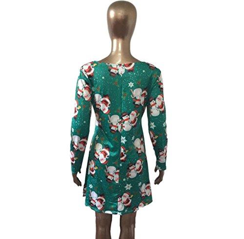Anboo Mode Femmes Manches Longues Bonhomme De Neige Noël Noël Impression Robe Swing Parti Vert