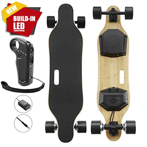 Cheapest Prices! Premium Electric Skateboard & Longboard with Remote Controller, Build-in LED Lights...