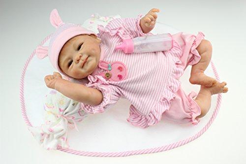 Funny House 17 Inch Soft Silicone Realistic Reborn Baby Dolls Vinyl Lifelike Newborn Doll Magnet