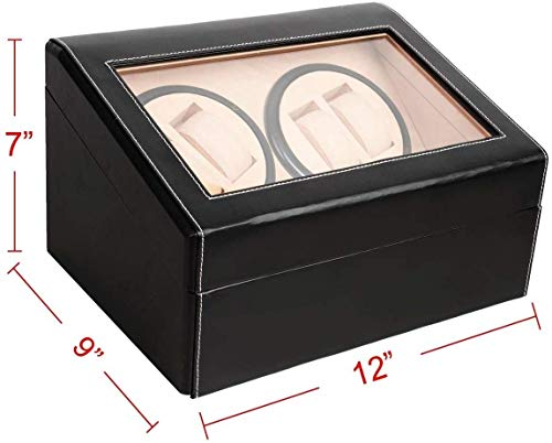 Marketworldcup 4+6 Automatic Rotation Leather Wood Watch Winder Storage Display Case Box Black Finished with Smooth Lines and Beautiful Craft Smooth Opening hinged lid