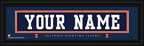- Laminated Visuals Illinois Fighting Illini - Personalized Jersey Nameplate - Framed Poster Print