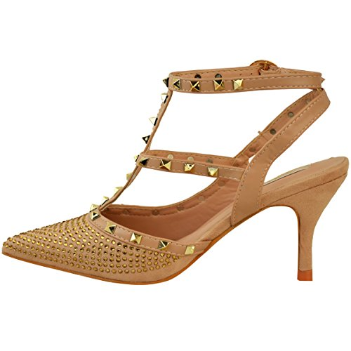 Fashion Thirsty Womens Stud Gem Mid Heel Party Strappy Shoes Wedding Office Size Light Mocha Brown Faux Suede / Dark Nude Faux Leather Trim KIuwgH3