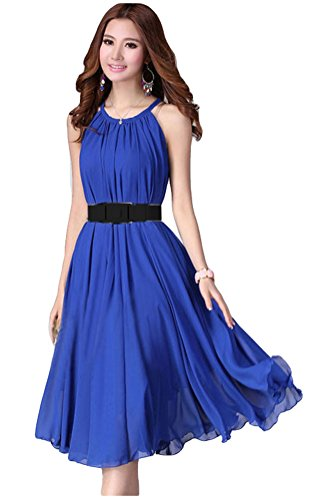 Womens Summer Sleeveless Pleated Removable