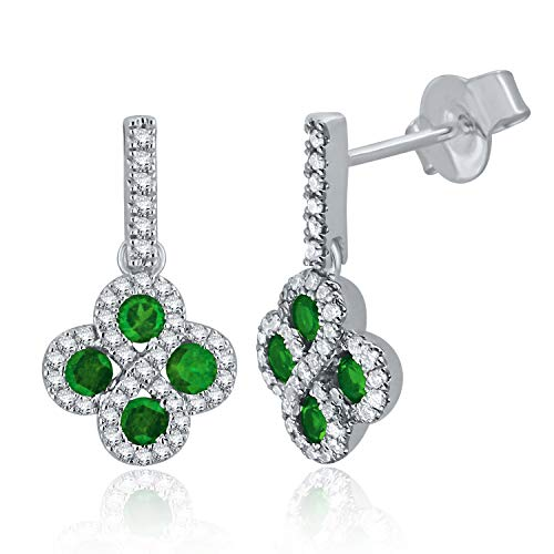 (14K White Gold 0.45 Ct Emerald and Diamond Drop Infinity Earrings with Friction Back (0.30 cttw, H-I Color, I1-I2 Clarity) )