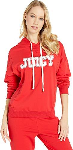Juicy Couture Women's Oversize Logo Collegiate Hoodie True Red Large (Sweatshirt Logo Real)