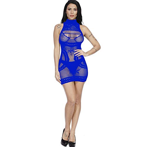 (XINGXING Europe and The United States Sexy Sling mesh Clothing Tight-Fitting Hollow Bag Hip Skirt Large Size Sexy Underwear (Color : Sapphire, Size : One Size))