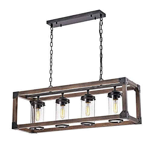 Jojospring Daniela Chic Antique Black Metal and Wood Bubble Glass Cylinders Rectangular Pendant Chandelier