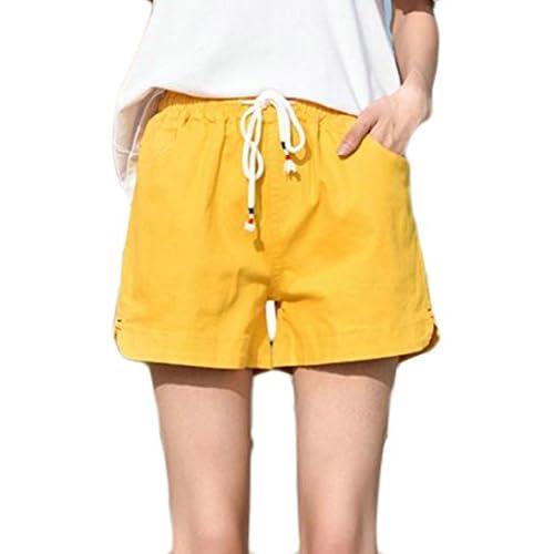 Cruiize Womens Drawstring Loose Elastic Waist Pocket Wide Leg Shorts