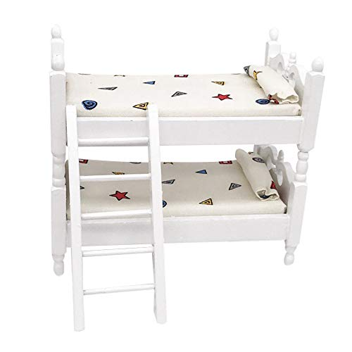 Binory Mini Bunk Bed Set Beautiful Pattern for 1/12 Dollhouse Furniture,Fashion Modern Design Miniature Home Bedroom Kids Pretend Toy,Creative Birthday Handcraft Gift Dollhouse Collection
