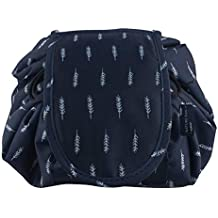 Lazy Portable Makeup Bag Large Capacity Waterproof Travel Cosmetic Bag Quick Easy Pack Round Travel Toiletry Bag Perfect for Storage Pretty Fashion Pattern Drawstring Bag (Deep blue)