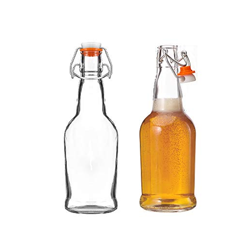 Kitchen Lux Glass Beer Bottles with Swing Top Cap,  2 Pack  Home Brewing Grolsch Bottle Set  Airtight Rubber Silicone Lid for Kombucha, Dressings and More