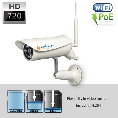 TriVision NC-326PW HD 720P Bullet Home IP Security Camera Outdoor Waterproof, Wi-Fi Wireless N, POE, 15m IR Night Vision, Motion Dection Triggered Email Alerts, Built-in DVR and Install in 3 Steps with Our Free Dedicated Apps on iPhone, iPad, Android Smar