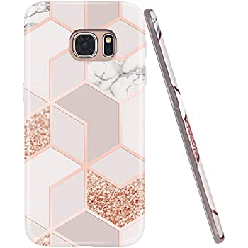 JAHOLAN Galaxy S7 Case Bling Glitter Sparkle Rose Gold Marble Design Slim Flexible Bumper Glossy TPU Soft Rubber Silicone Cover Phone Case for Samsung ...