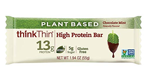 thinkThin Vegan/Plant Based High Protein Bars - Chocolate Mint, 13g Protein, 5g Sugar, No Artificial Sweeteners, Gluten Free, GMO Free*, Best Nutritional Snack/Meal Bar, 2.1 oz bar (10 ()
