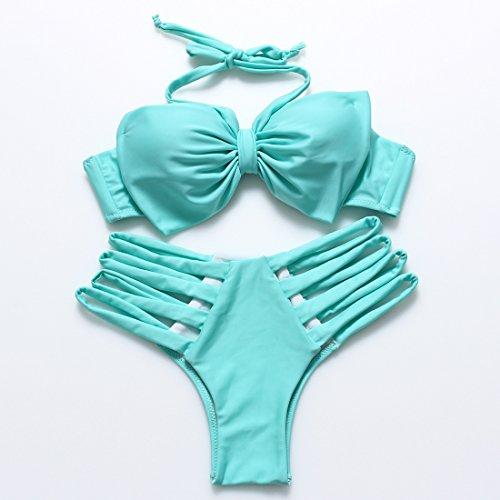 YONGYI El color puro y bikini split grabado precioso arco grandes lazos con la Sra. spa trajes de baño Lago Verde
