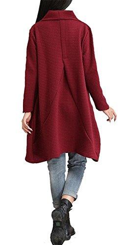 Camicia Invernale Landove Linea Swing Collo A Pullover Lunga Taglie Donna Unita Shirt Ragazza Felpa Rosso T Maglietta Vestiti Forti Casual Manica Abito Alto Vestito Tinta CT4Twq