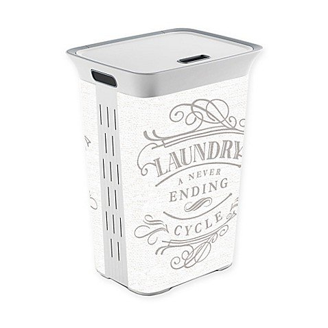Laundry a Never Ending Cycle Laundry Hamper with lid, White