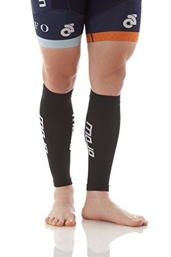 Compression Calf Sleeve, Pair of 2 Sleeves for Calf Strains, Running, Shin Splints, Varicose Veins, Injury Recovery & Prevention, 20-30mmHG, Mojo Compression (Black/Large) ()
