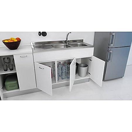 COLAVENE s32 Mobile sottolavello 120 X 50 per cucina con tre ante diverse  colorazioni, lavello inox non compreso - Bianco