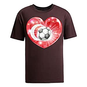 Custom Mens Cotton Short Sleeve T-shirt,2014 Brazil FIFA World Cup Turkey soccer heart 2014 brown