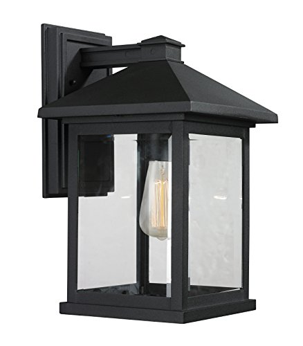 (Z-Lite 531B-BK 1 Outdoor Wall Light, Black)