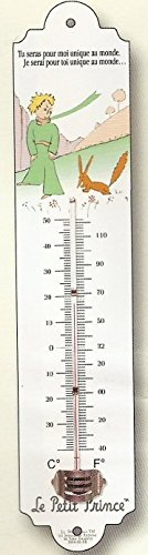 FRENCH METAL DECORATIVE SILKSCREENED THERMOMETER RETRO AD PETIT PRINCE THE FOX SAINT EXUPERY by Petit Prince Collection