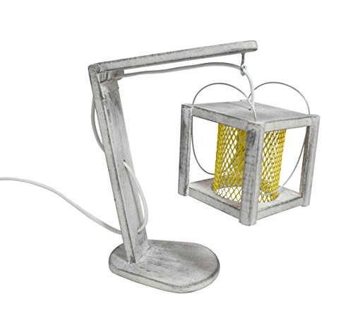 Small Metal Handmade Hanging Cube Rustic Desk Lamp Distressed Lighting - Table Light or Office and Home (Black Cube Marble Base)