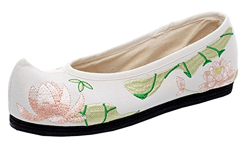 AvaCostume Womens Lotus Embroidery Pointed Flat Shoes White Y4VsRdDIb