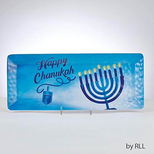 Chanukah Melamine Serving Tray for Parties - Rectangular Sahpphire Collection Dish