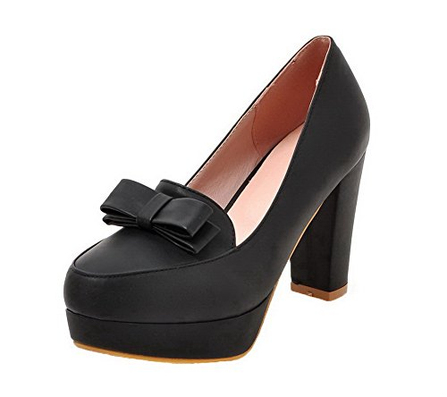 AllhqFashion Women's Round Closed Toe High-Heels PU Solid Pull-On Pumps-Shoes, Black, - Shipping Overnight Free With Stores
