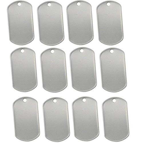 PERTTY 100 Pcs Shiny Stainless Steel Military spec Rolled Edge Backing Dog Tags - BLANK
