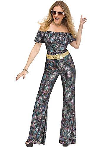 (Fun World Disco Queen 2pc Women Costume, Medium/Large 10/14, Silver Pink)