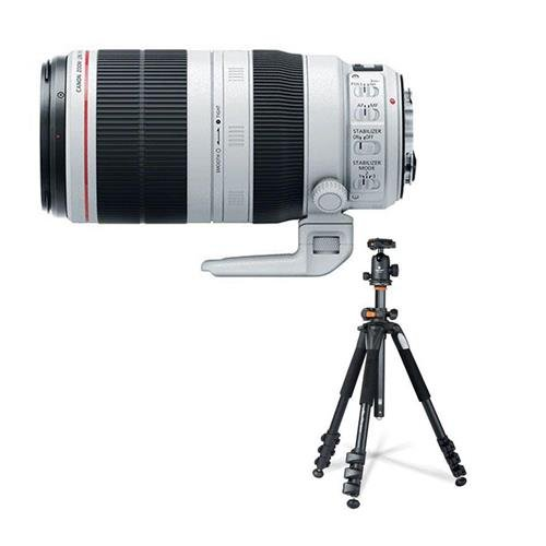 Canon EF 100-400mm f/4.5-5.6L IS II USM (Image Stabilized) Zoom Lens - U.S.A. - Bundle With Vanguard 264AB-100 4-section Aluminum Tripod with SBH-100 QR BallHead ()
