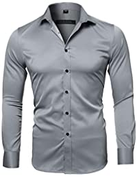 INFLATION Mens Dress Shirts, Long Sleeves Stretch Shirt Workwear Breathable Tuxedo Shirts 15 Colors