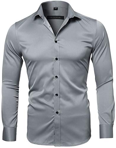 INFLATION Mens Dress Shirts Bamboo Fiber Slim Fit Long Sleeve Casual Button Down Shirts Wrinkle Free Dress Shirts for Men Gray]()