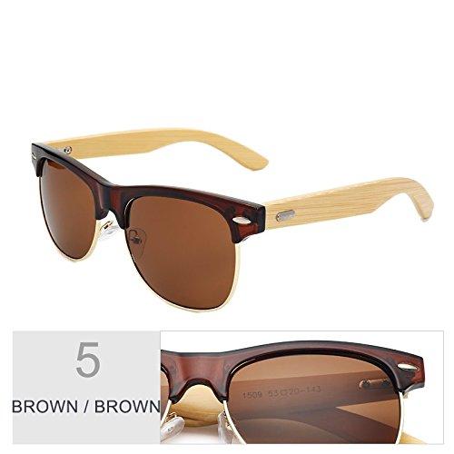 Clásico Negro Color Oro De Mirroring Gafas Brown Sol Gafas TIANLIANG04 De Unisex Brown vAXqFWw