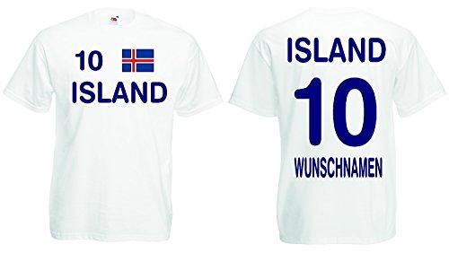 Island Trikot mit Wunschname und Wunschnummer EM 2016|weiss-M