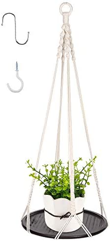 GROWNEER 33 Inches Macrame Plant Hanger Plant Hanging Shelf with 2 Pcs Hooks and Round Wood Plate, Indoor Decorative Flower Pot Holder Boho Home D cor