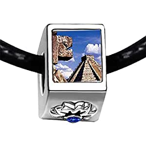 Chicforest Silver Plated Travel Chichen Itza Mexico Photo Sapphire Crystal September Birthstone Flower Charm Beads Fits Pandora Charms