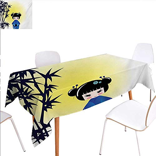 Silk Tabletop Tree Bamboo - familytaste Anime Dinning Tabletop Decoration Illustration of a Kokeshi Doll and Bamboo Tree Japanese Asian Traditional Kimono Table Cover for Kitchen 52
