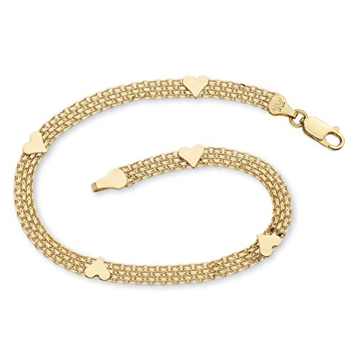 (10k Yellow Gold Bismark-Link Heart Bracelet 7.25