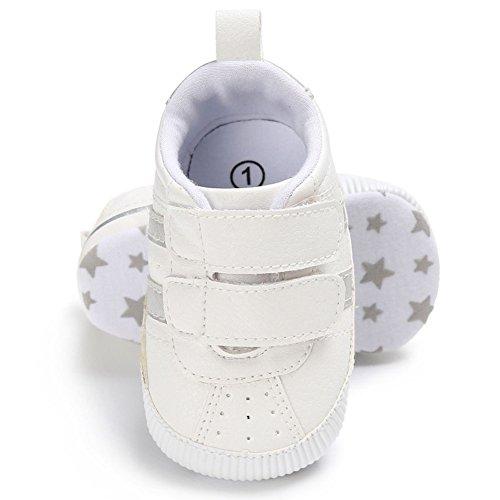 Juleya Zapatos de niño de las muchachas de los muchachos de los niños recién nacidos que caminan primero zapatillas de deporte antirresbaladizas White 6-12M plata