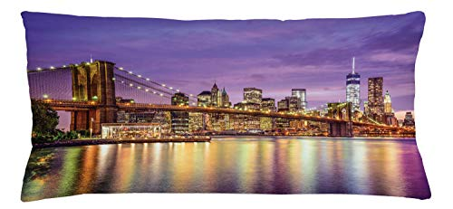 """Ambesonne New York Throw Pillow Cushion Cover, NYC Exquisite Skyline Manhattan Broadway Old Neighborhood Tourist Country Print, Decorative Rectangle Accent Pillow Case, 36"""" X 16"""", Purple Gold"""