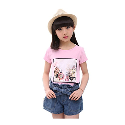 ftsucq-girls-sequin-short-sleeve-top-shirt-with-denim-shorts-two-pieces-setspink-130