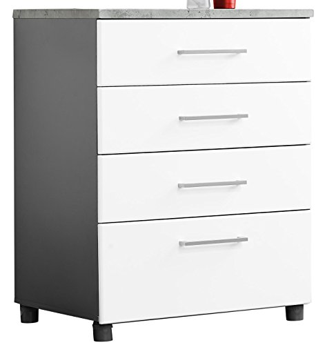 SystemBuild 7472403COM Latitude 4 Door Base Cabinet 4 Drawer, White
