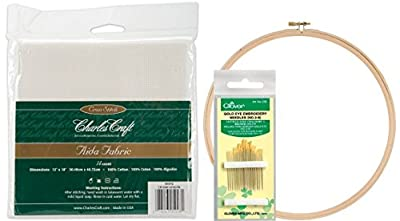 SALE! Embroidery Starter Kit! DMC Classic Reserve Aida, 12 By 18-inch, White, 14 Count. Along with a Pack of 16 Gold Eye Embroidery Needles (Clover, No. 3-9) with a 10 Inch Wood Embroidery Hoop by kedudes
